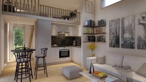 Bohus Modern 40 illustration 3D kök, vardagsrum, loft, fönster